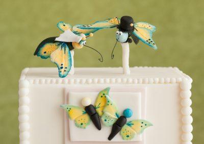 bride and groom fondant butterflies