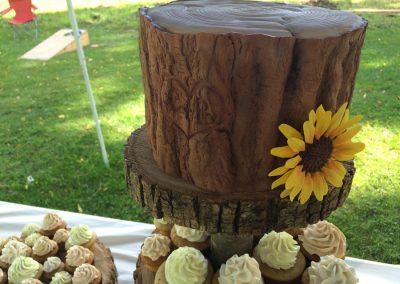 fondant bark and gum paste sunflower wedding cake