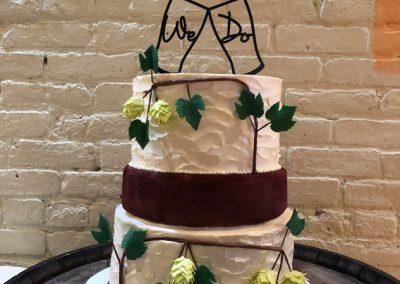 gum paste hops on wedding cake