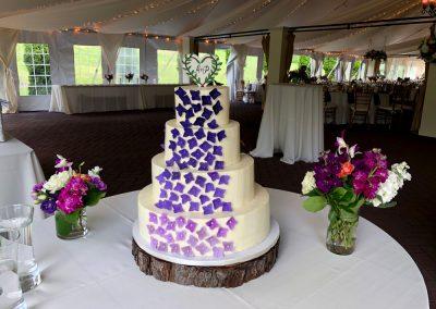 ombre purple gum paste hydrangeas on buttercream wedding cake at Hildene, Manchester, VT
